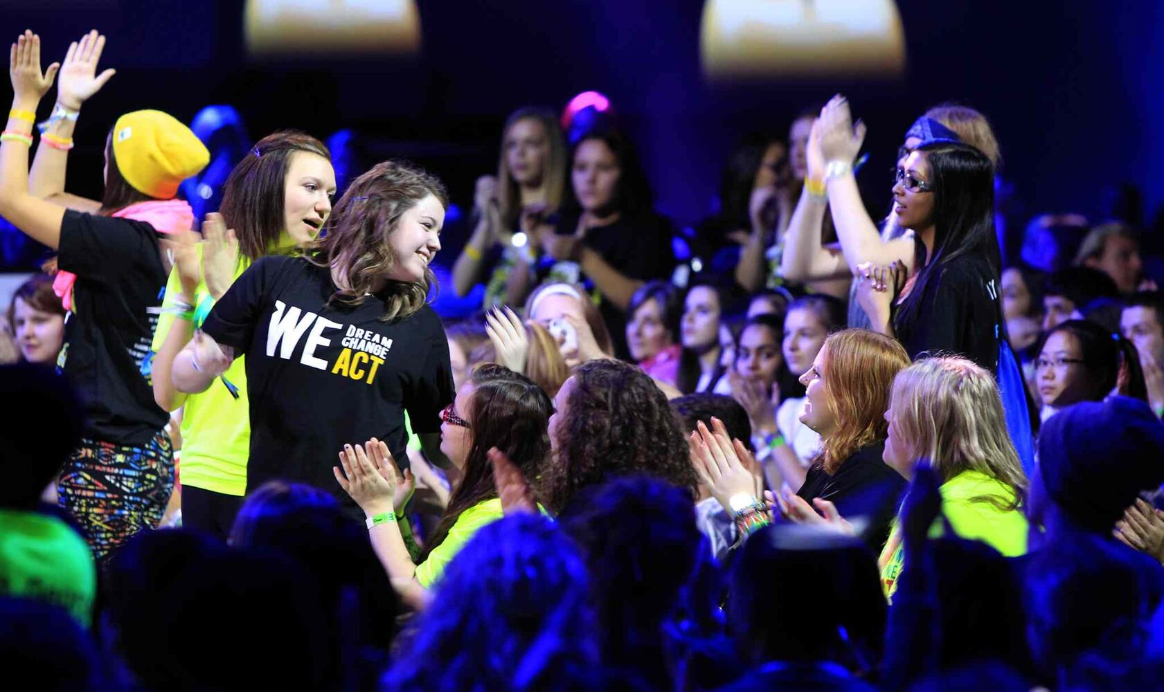 Students enjoying the music and the message at We Day. (Wayne Glowacki / Winnipeg Free Press)