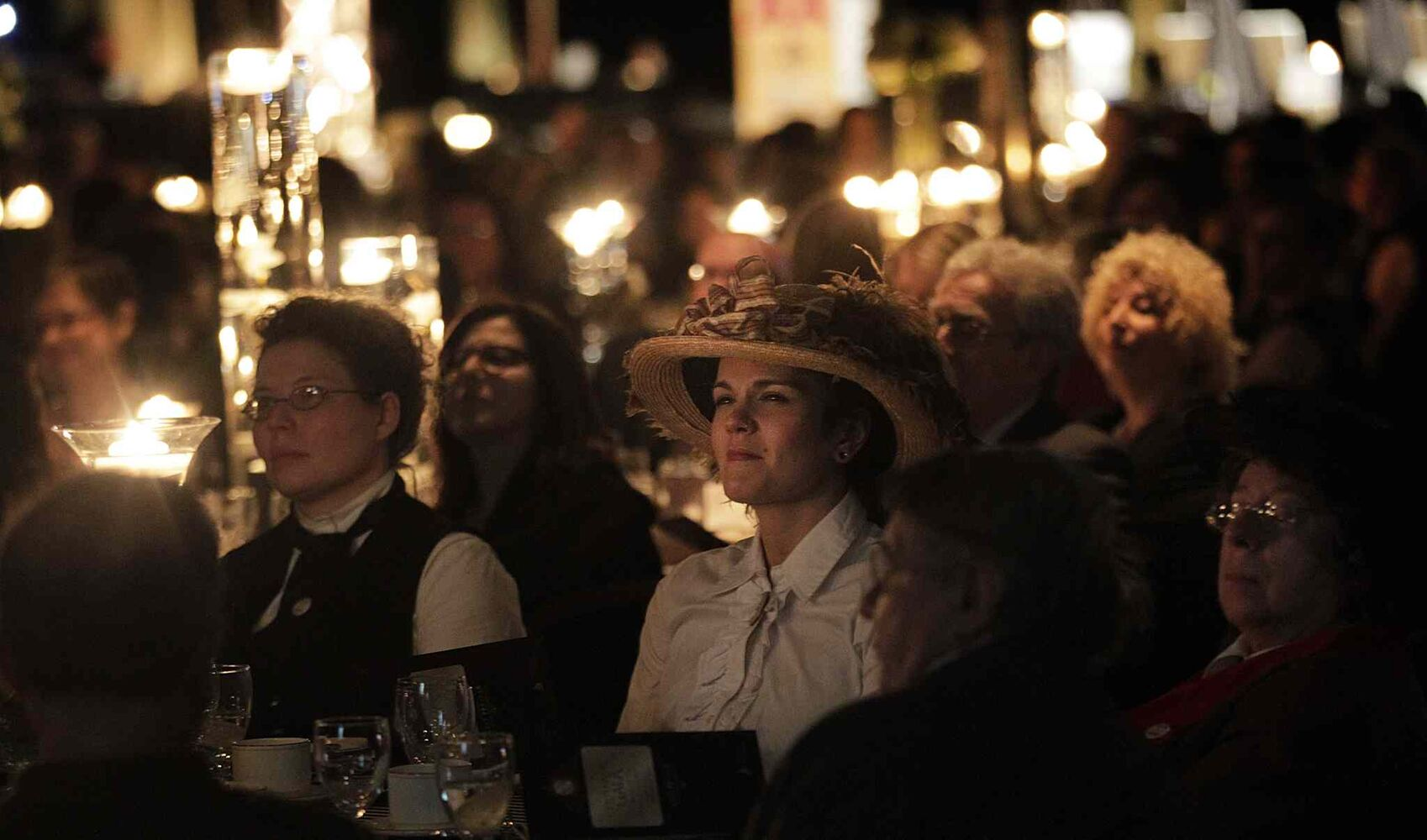 Dressed in period finery, Naomi Osask (centre) joined women from across Manitoba at the Centennial Women's Gala. (Phil Hossack / Winnipeg Free Press)