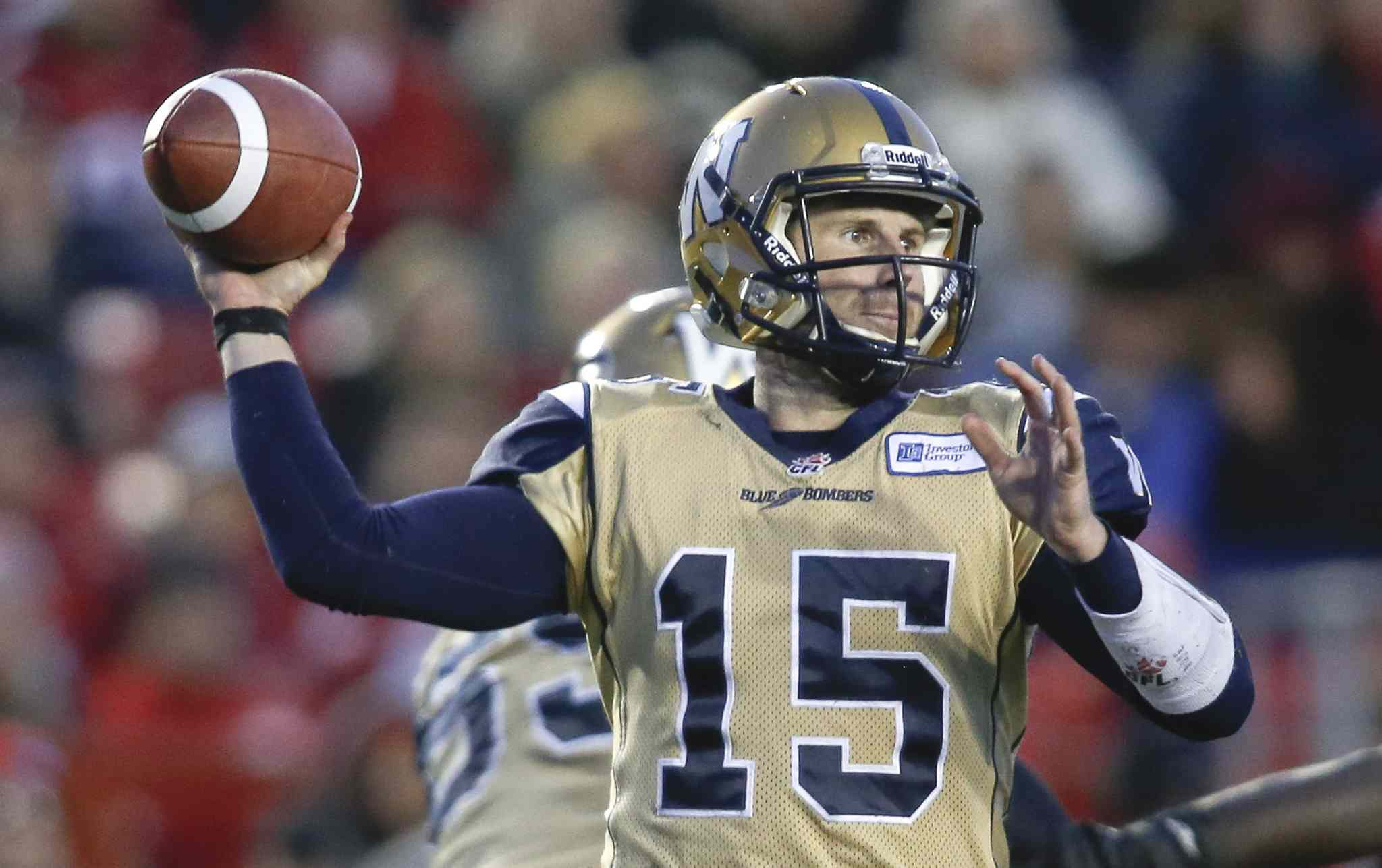 Winnipeg Blue Bombers quarterback Max Hall throws the ball during the second half. Hall completed 15 of 34 passes for 147 yards and with one interception.