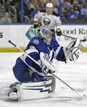 Tampa Bay Lightning goalie Andrei Vasilevskiy (88), of Russia, makes a save on a shot by the Buffalo Sabres during the first period of an NHL hockey game Tuesday, March 3, 2015, in Tampa, Fla. (AP Photo/Chris O'Meara)