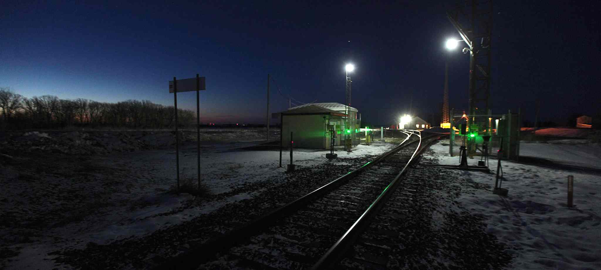 A rail line runs north across the US/Canadian border into Emerson, where many asylum seekers cross into Canada.