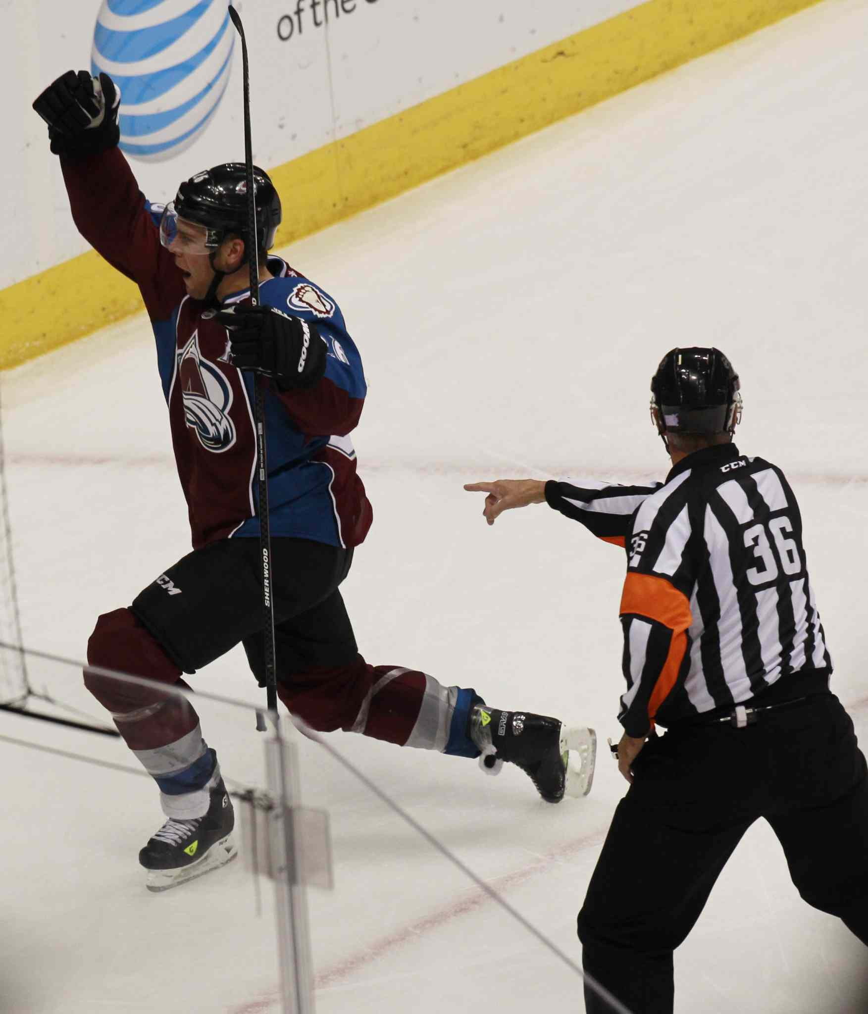 Colorado Avalanche centre Paul Stastny celebrates scoring the go-ahead goal in the third period.