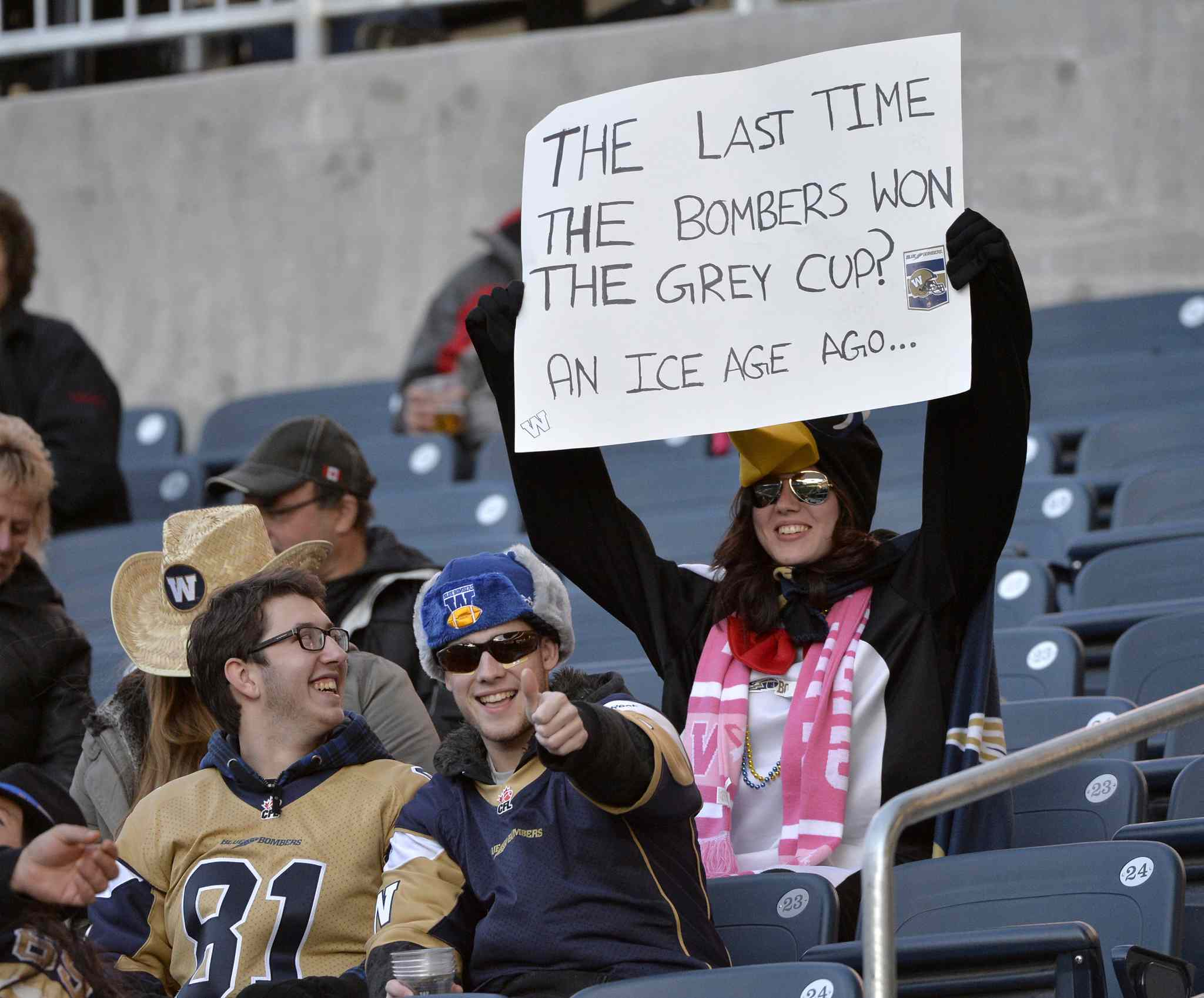 A Winnipeg Blue Bombers fan delivers a message.