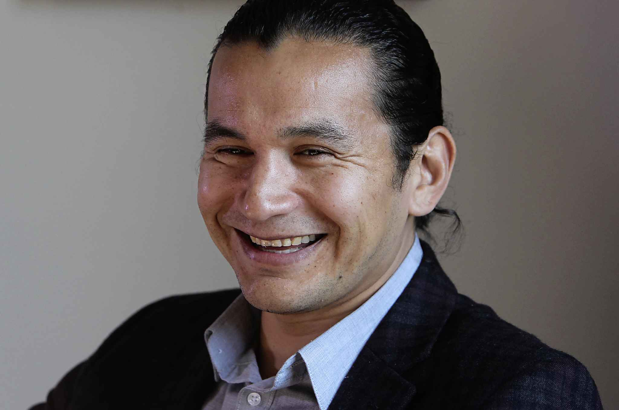 Newly-elected NDP Leader Wab Kinew in his new office at the Manitoba Legislature.