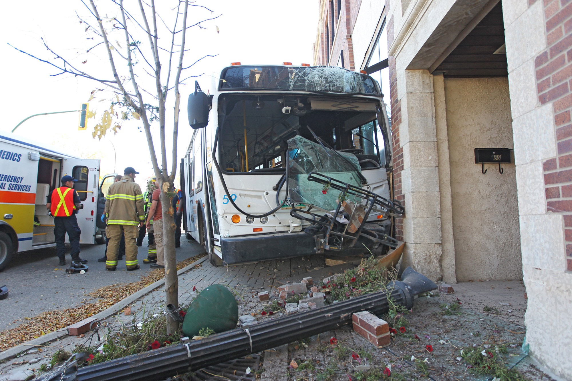 A stolen car crashed into a bus and forcing it to smash into the front of a business shortly before 4 p.m. on Friday afternoon. A 12-year-old Winnipeg boy has been charged.