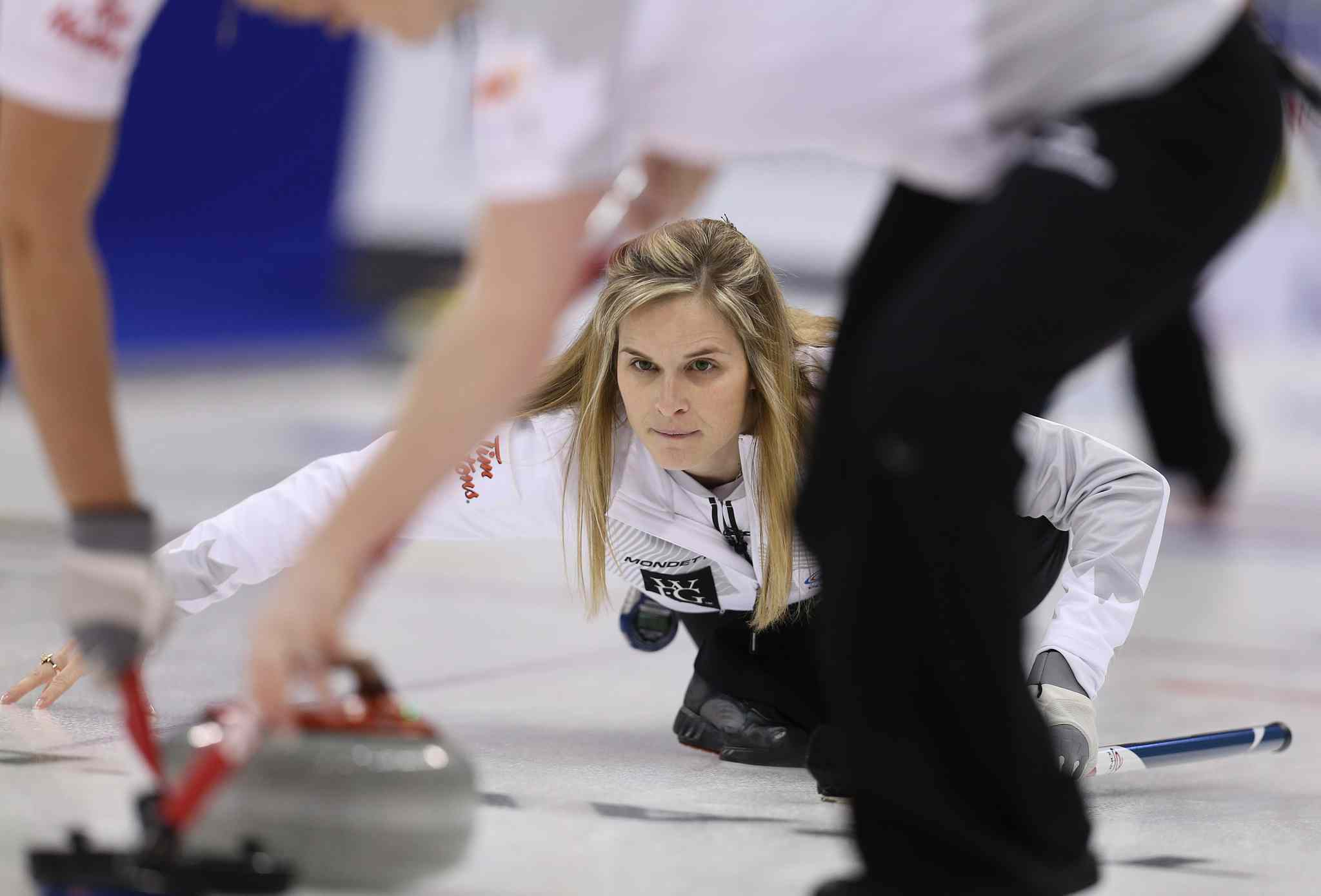 Skip Jennifer Jones shoots against Sherry Middaugh in the women���s final of Roar of the Rings curling at the MTS Centre on Sat., Dec. 7, 2013. Photo by Jason Halstead/Winnipeg Free Press