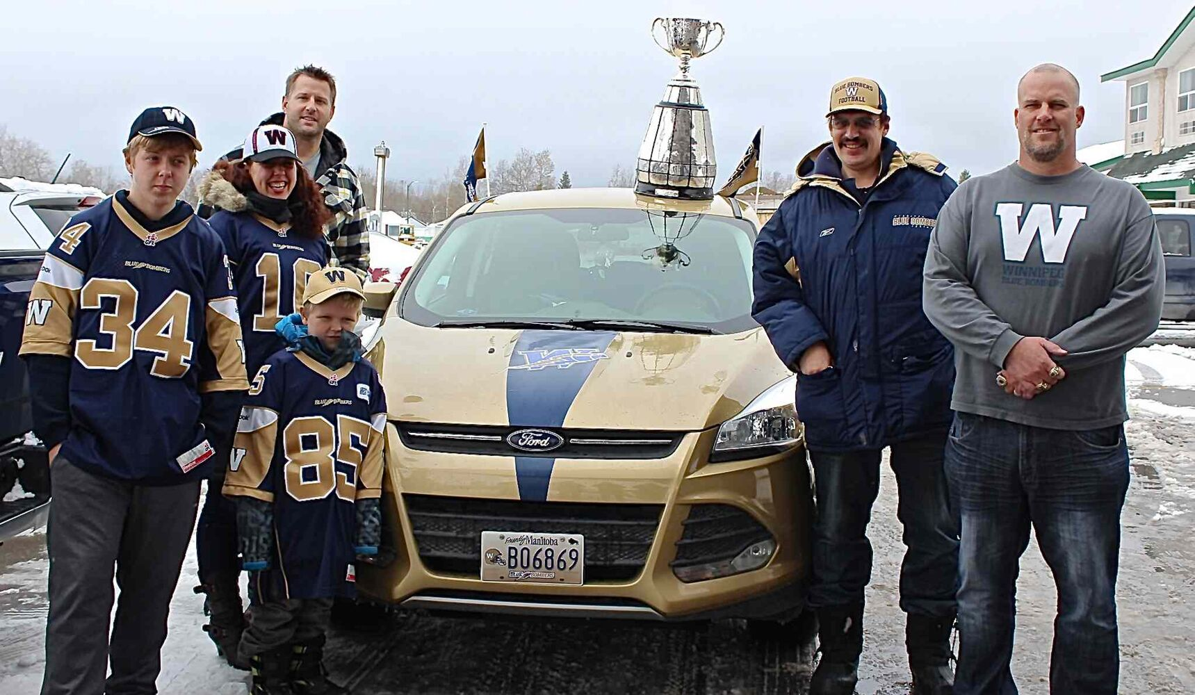 Bombers fans flocked from all over to see the Grey Cup up close. This family from Thompson proved their allegiance to the Blue and Gold, showing up with their truck painted in team colours.