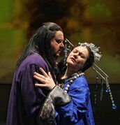 Soprano Mlada Khudoley, as the title character Turandot, with Raul Melo as Prince Calaf.