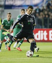 Real Madrid's Ronaldo scores a goal against Ludogorets during their Champions League group B soccer match at Vassil Levski stadium in Sofia, Wednesday, Oct. 1, 2014. (AP Photo)