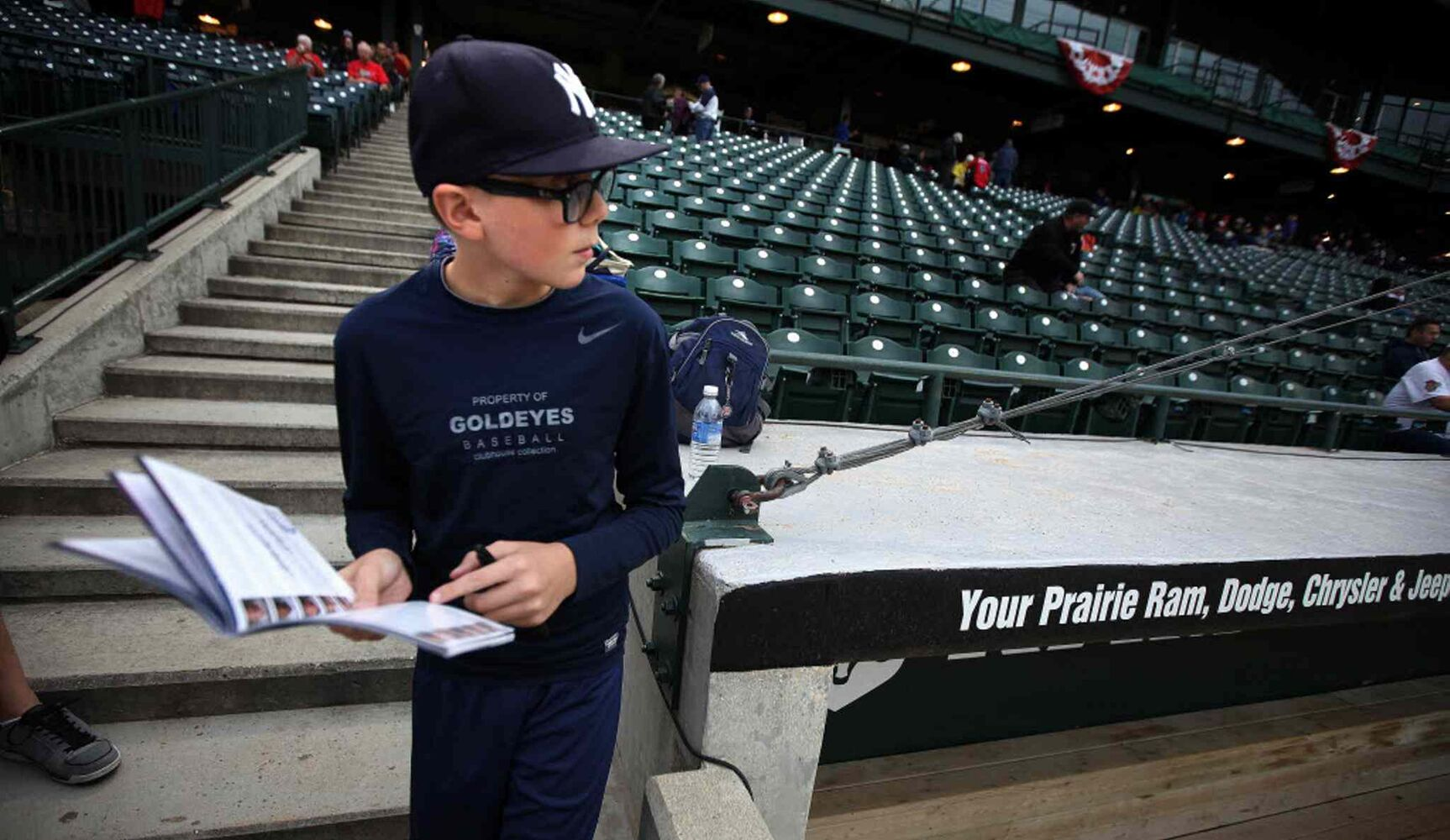 Goldeyes fan Nicholas Kuhlman, 12, shows up early to most of the team's games with his program and pen handy. He's got all of the Goldeyes' players signatures but is always on the hunt for new autographs.