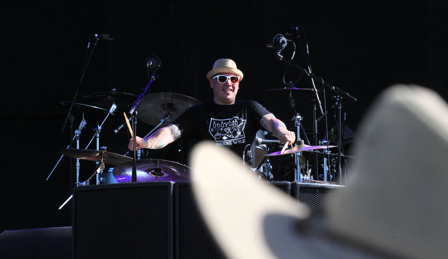 Emmet VanEtten, drummer with local blues band The Perpetrators, plays at the third annual Winnipeg BBQ & Blues Festival at Shaw Park Saturday. The festival takes place August 16th and 17th, and will feature the best in international, national and local blues performers along with the Winnipeg Free Press Pit Masters barbeque competition. (Ruth Bonneville / The Winnipeg Free Press)