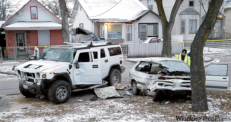 A speeding stolen Hummer H2 smashed into Zdzislaw  Andrzejczak's Subaru at the corner of Alfred Avenue and Andrews Street on Dec. 11, 2009.
