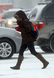 Temperatures hit -22 C with blowing  snow falling on downtown Winnipeg this afternoon.