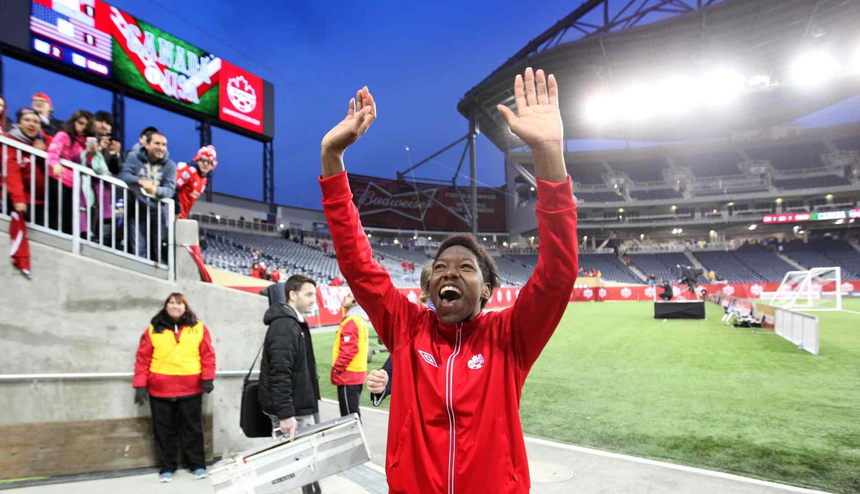 Canada's Kadeisha Buchanan waves and smiles to the crowd as she leaves the field after scoring Canada's lone goal against the U.S. in the women's international soccer match at Investors Group Field Thursday evening. The teams tied 1-1.  (Ruth Bonneville / Winnipeg Free Press)