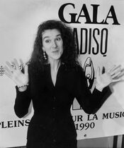 Singer Celine Dion holds up her hands after refusing her Felix award for Best Anglophone Artist at the Quebec Music Industry Awards (ADISQ) ceremonies in Montreal, Oct. 21, 1990. Twenty-five years ago, a breathtakingly talented Quebec singer made her introduction to most of the English-speaking world. With the release of 1990's