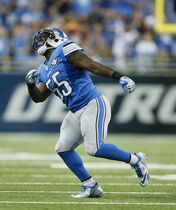 Detroit Lions middle linebacker Stephen Tulloch (55) celebrates his sack of Green Bay Packers quarterback Aaron Rodgers (12) during the first half of an NFL football game in Detroit, Sunday, Sept. 21, 2014. Tulloch injured his left knee celebrating. (AP Photo/Rick Osentoski)