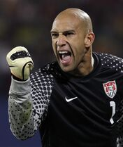 FILE - In this Saturday, June 26, 2010, file photo, United States goalkeeper Tim Howard clenches his fist during the World Cup round of 16 soccer match between the United States and Ghana at Royal Bafokeng Stadium in Rustenburg, South Africa. (AP Photo/Elise Amendola, File)