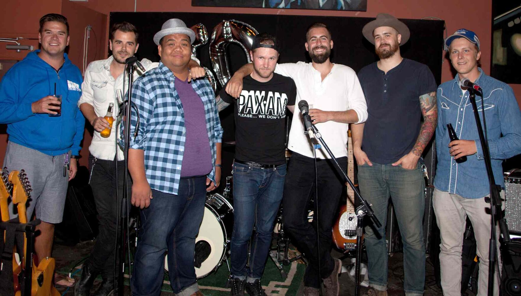 A surprise 50th birthday party for POP Sports & Entertainment's Dave Sherman was held Aug. 7, 2015 at Le Garage Café. Live entertainment was provided by Those Guys: Michael Engstrom (from left), Kyle Meyer, Bernie Pastorin, Jay Mymryk, Ryan McConnell, Jesse Meyer and Jason Robert Stanley. (JOHN JOHNSTON / WINNIPEG FREE PRESS)