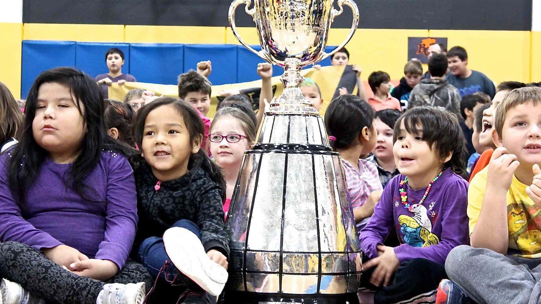 Students at Juniper School in Thompson were delivered a real treat this week - an up-close-and-personal look at the Grey Cup. Juniper was one seven schools the Cup visited that day as part of an anti-bullying campaign. (Jeff Hamilton / Winnipeg Free Press)