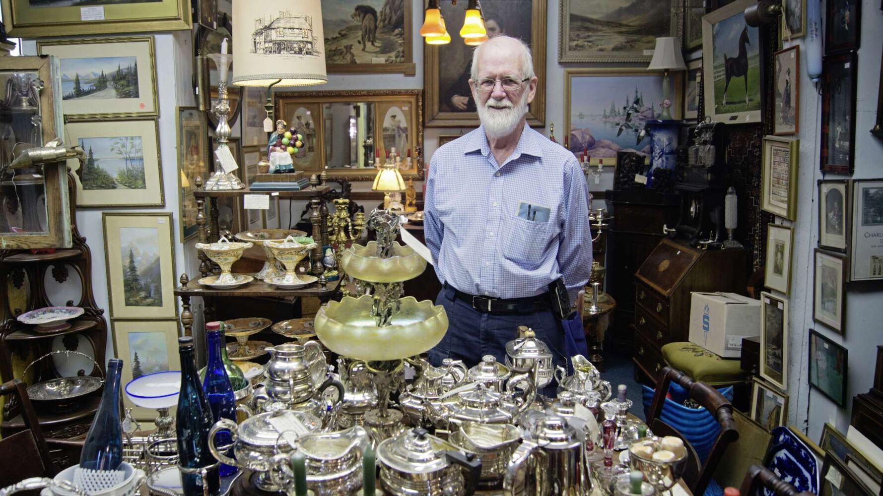 John Cooper is the owner of Abbey Antiques on Corydon Avenue. After 25 years in business in the area, he's developed quite the affinity for silver, glassware, and rare items.  His notable pieces follow.  (Danielle Da Silva - Sou'wester)