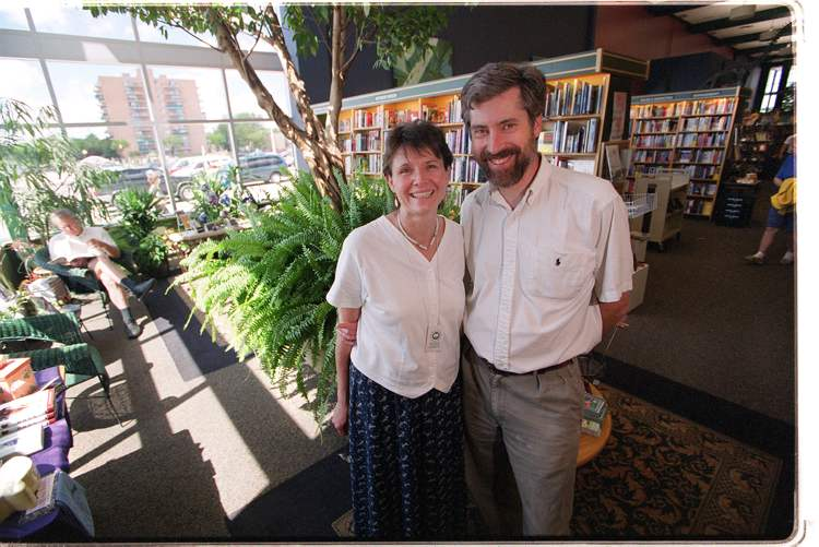 June 29, 2001: Holly and Paul McNally in their Grant Park McNally Robinson Bookstore, are happy to be expanding their operations to Calgary. (Ruth Bonneville/Winnipeg Free Press Archives)
