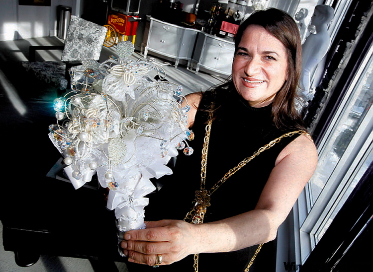 Maria Stella Mazza holds crystal beaded bouquet, which is Hollywood bound.