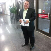Michael Vogiatzakis, outside the City Clerk's office, after learning he did not have enough valid nomination signatures to appear on the Oct. 22 mayoral ballot.