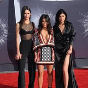 Kim Kardashian West with half-sisters Kendall and Kylie Jenner at theMTV VMAs