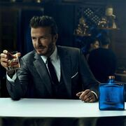 David Beckham with his whiskey