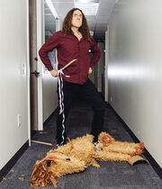 "In this July 17, 2014 photo, ""Weird Al"" Yankovic poses for a portrait in Los Angeles. Billboard reported that Yankovic's ""Mandatory Fun"" debuted at No. 1 this week with more than 80,000 units sold. That's almost double the amount his last album,"