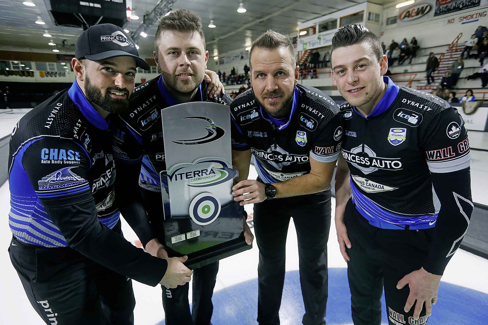 JOHN WOODS / WINNIPEG FREE PRESS FILES <p />  Reid Carruthers and his team Braeden Moskowy, Derek Samagalski and Colin Hodgson celebrate after defeating Mike McEwen in the Manitoba men's curling championship in Winkler Sunday, Feb. 4, 2018.