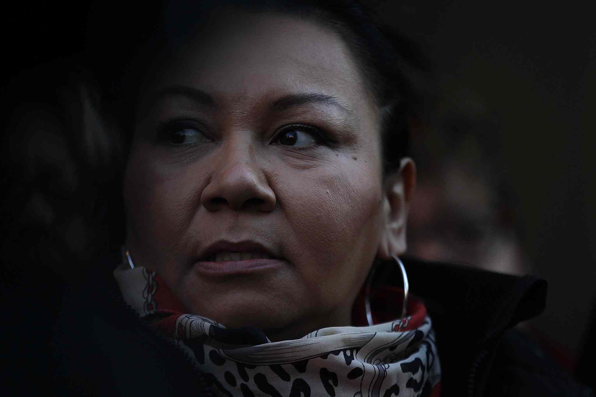 An angry MKO Grand Chief Shiela North speaks to media outside the Winnipeg Courthouse Thursday.