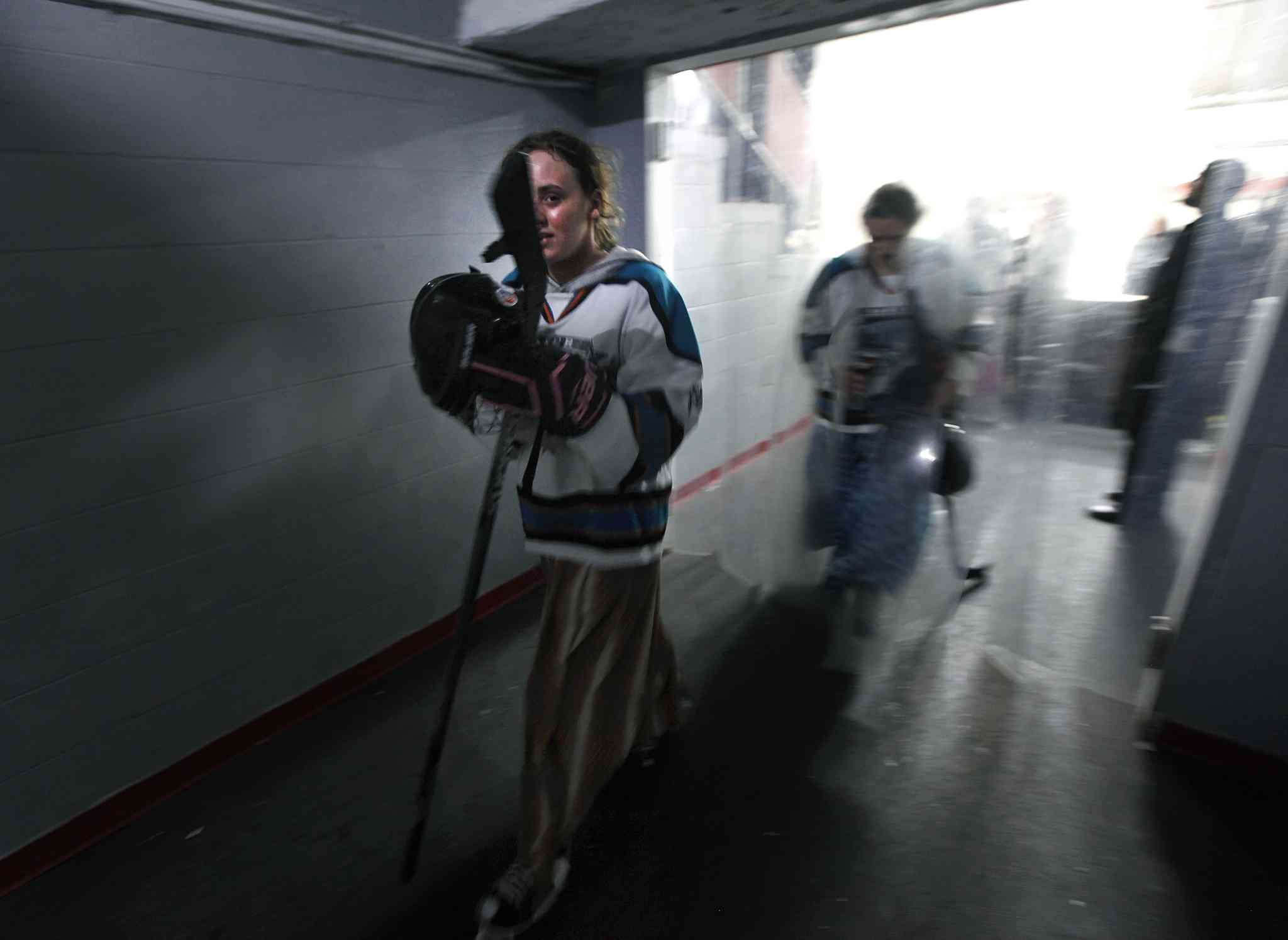 Flush in the face after a loss in overtime to the Iron Maidens, Anya Wurtz heads back to the dressing room with the Baker Storm.  (Phil Hossack / Winnipeg Free Press)