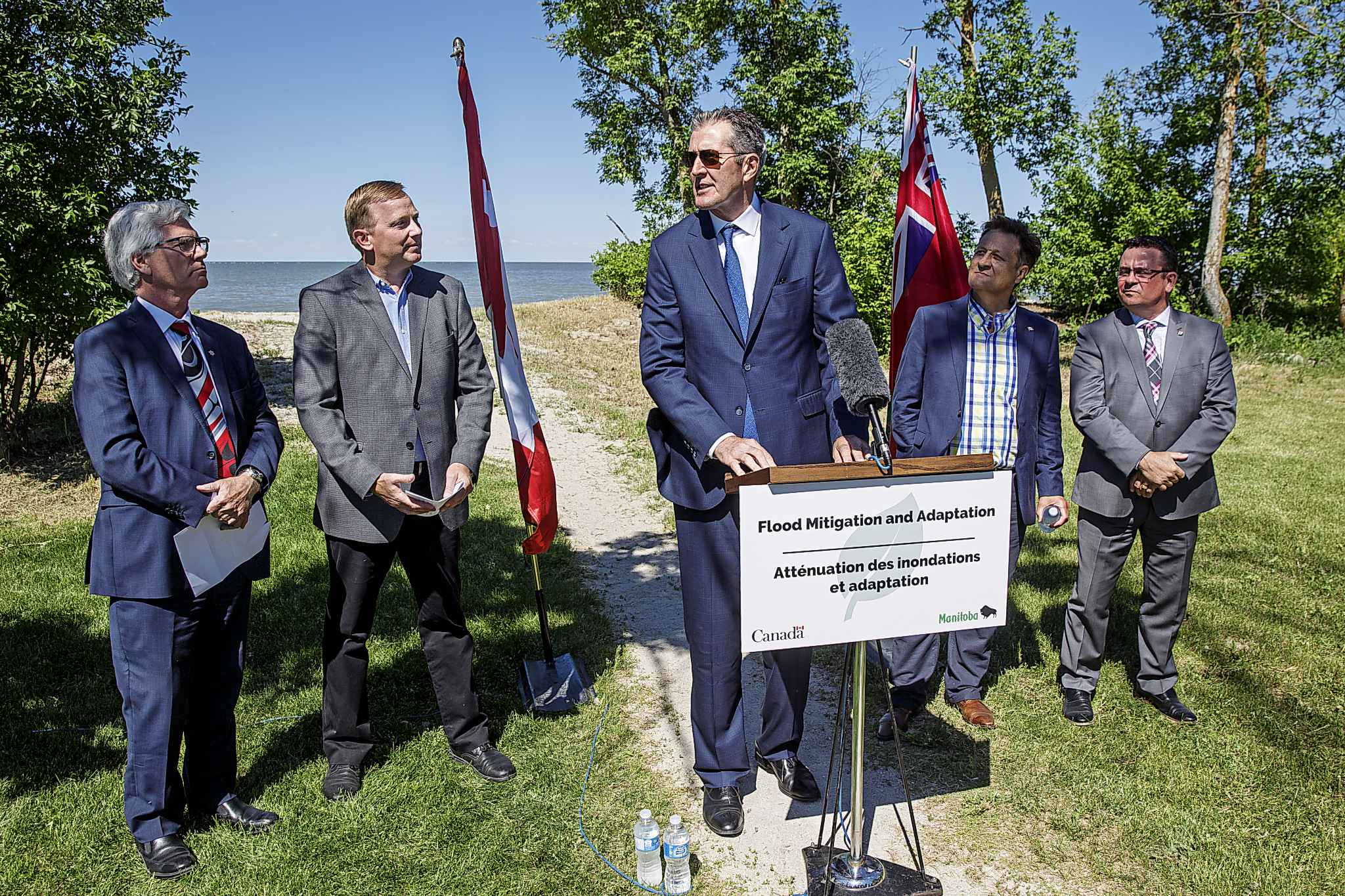 Premier Brian Pallister and Jim Carr, Federal Minister of Natural Resources Canada, announced a $540 million infrastructure project for flood management of the Lake Manitoba and Lake St. Martin outlet channels at an event at Parc Gros Arbre, off Allard Road close to St. Laurent.