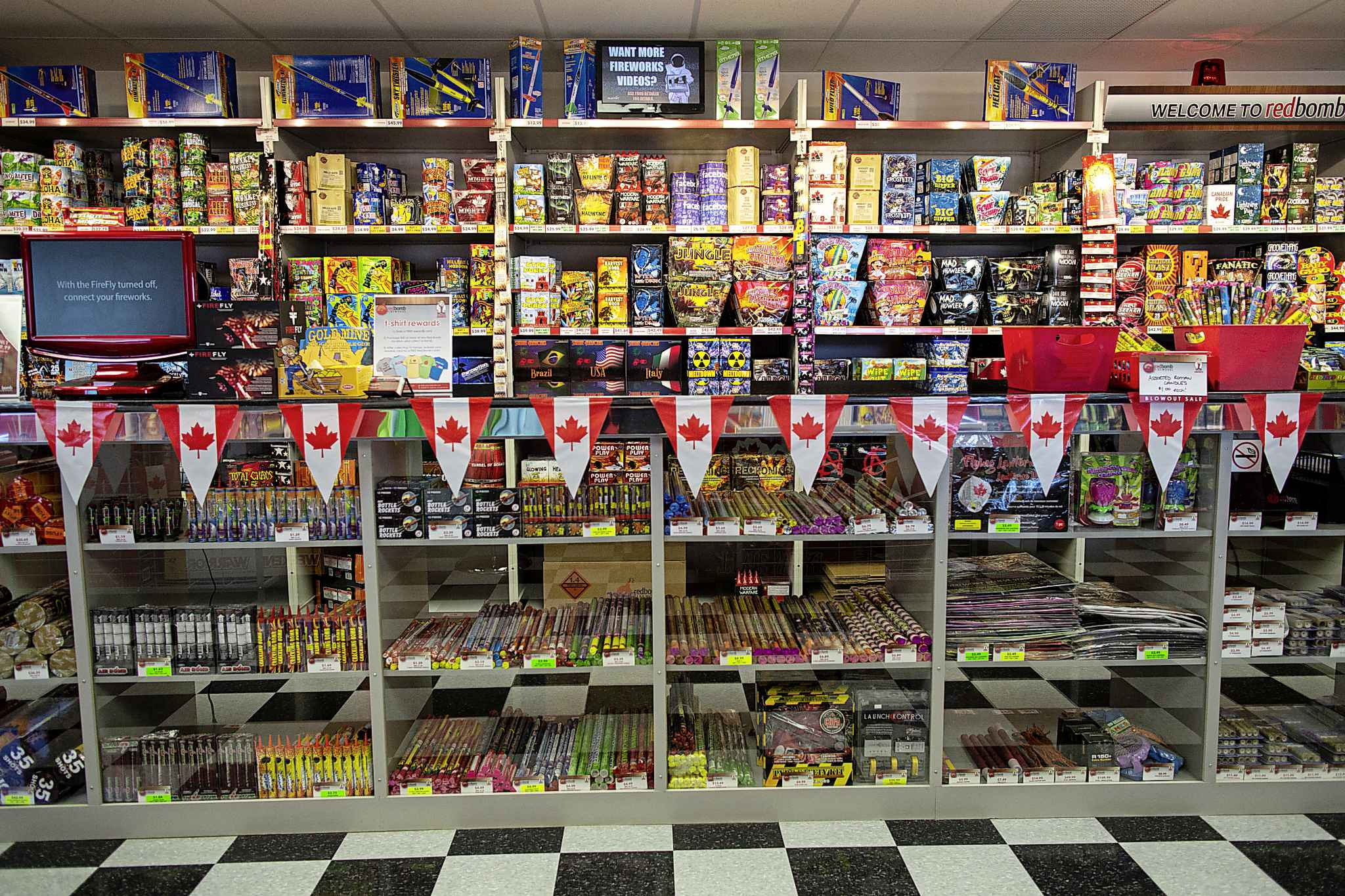 A view of the Red Bomb Fireworks customer store in Selkirk.