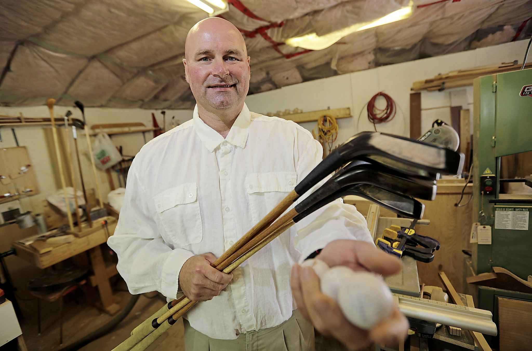 Kelly Leonard makes hickory golf clubs, some of which are replicas of clubs dating back to the 1800s. (Photos by Trevor Hagan / Winnipeg Free Press)