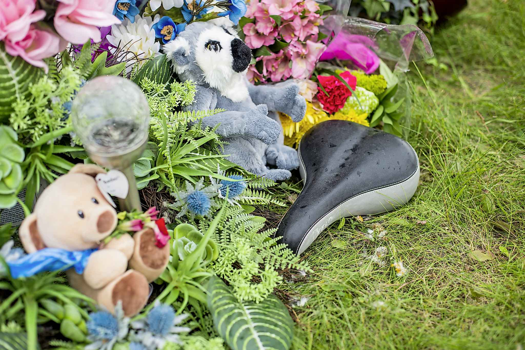 The makeshift memorial at Donald road and highway nine, where Ben Harris was killed in a hit-and-run, in the R.M. of St. Andrews.