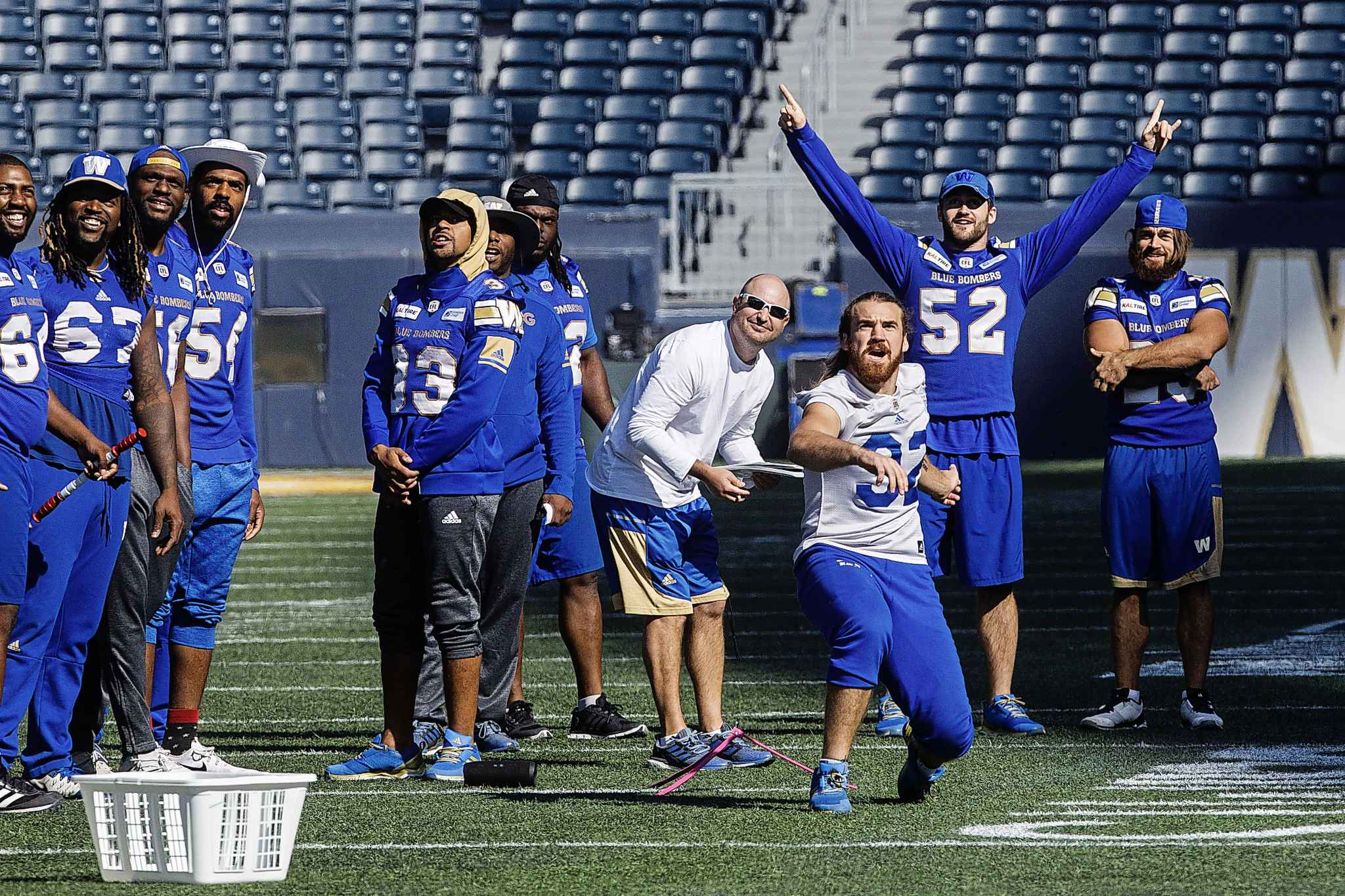 Winnipeg Blue Bombers' full-back John Rush (32) kicks a field goal from the 35 yard line during practice at Investors Group Field Friday morning.  180907 - Friday, September 07, 2018.