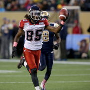 Calgary Stampeder Joe West (85) scores a touchdown during first half CFL action against the Winnipeg Blue Bombers, Saturday.