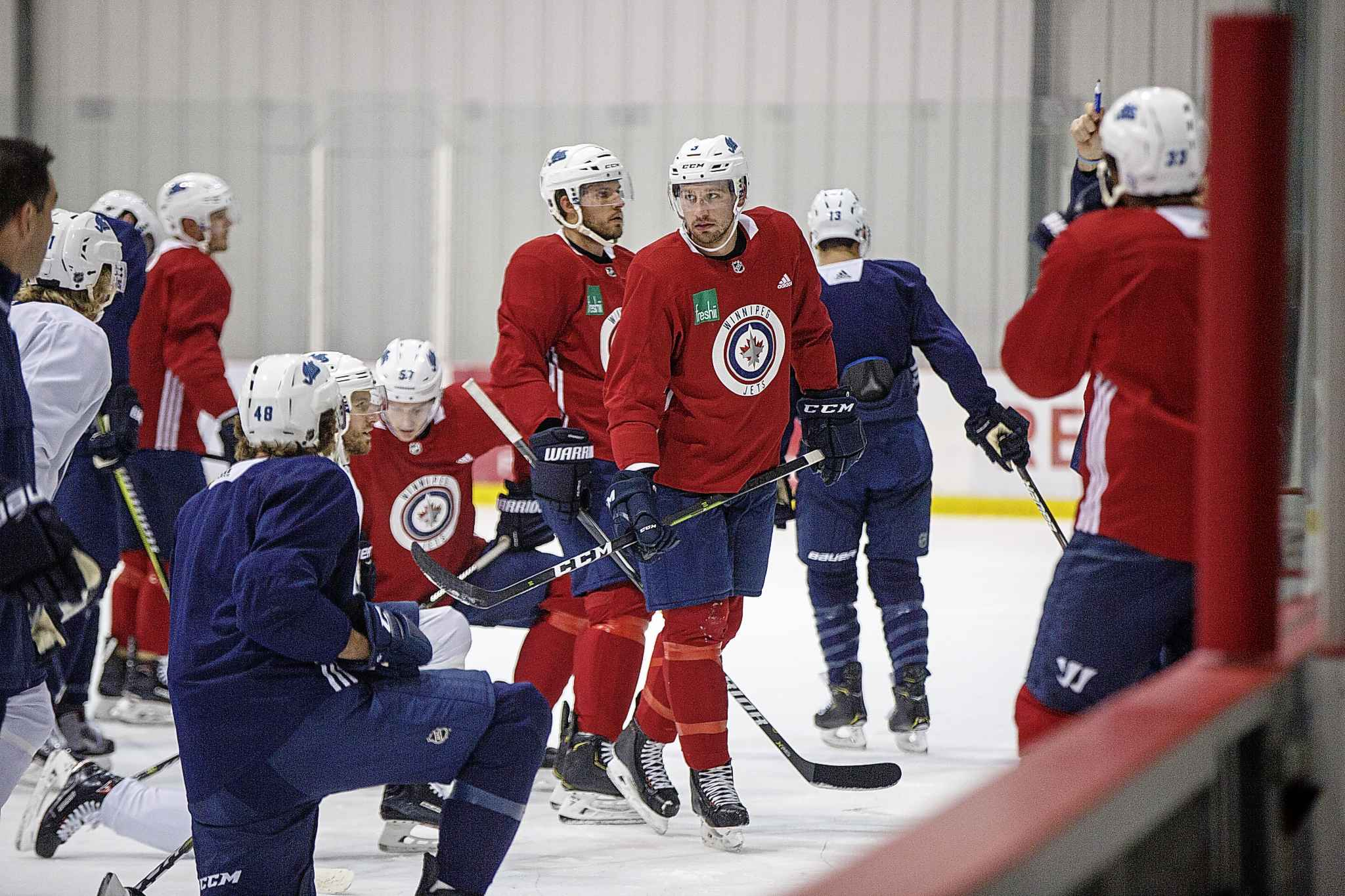 Winnipeg Jets' Tucker Poolman (3) during practice at the Bell MTS Iceplex Tuesday morning.
