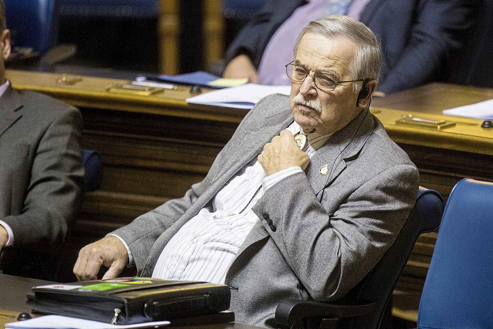 PC MLA Cliff Graydon during question period at the Manitoba Legislative Building in Winnipeg on Thursday.