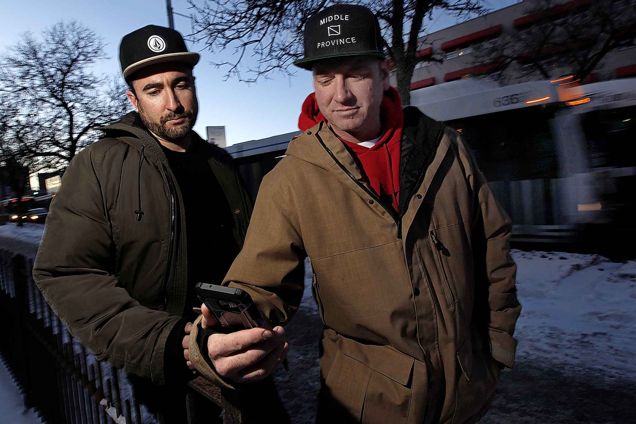Dane Bourget (right) and Robert Lidstone are founders of a volunteer hotline called Jib Stop.