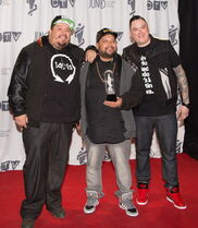 A Tribe Called Red receives the 2014 JUNO for Breakthrough Group of the Year at the MTS Centre in Winnipeg.