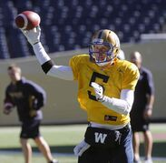 Bombers #5 QB Drew Willy at practice held at Investors Group Field.