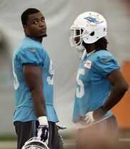Miami Dolphins defensive end Dion Jordan, left, talks to Walt Aikens (35) during an NFL football practice in Davie, Fla., Tuesday, Oct. 21, 2014. Jordan returned to practice for the Miami Dolphins after missing the first six games because he twice violated the NFL's substance abuse policy. (AP Photo/Alan Diaz)
