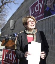 Mayoral candidate Judy Wasylycia-Leis makes an announcement outside her campaign office on Portage Avenue Tuesday on the last day before the election.