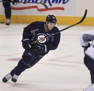 Grant Clitsome leans into a turn during Winnipeg Jets' practice Monday morning. Last summer the blue-liner was rewarded for his strong play with a solid contract.
