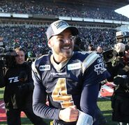 Winnipeg Blue Bombers quarterback Buck Pierce celebrates 19-3 Eastern Final win over the Hamilton Tiger-Cats on Sunday, Nov. 20.