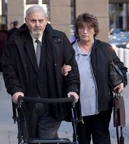 Aubrey Levin, left, convicted of sexually assaulting three of his court-appointed male patients, leaves court in Calgary, Alta., Monday, Oct. 15, 2012 with his wife Erica. The Supreme Court of Canada has shut the door on Levin's request to appeal three convictions for sexually assaulting his court-appointed patients. THE CANADIAN PRESS/Jeff McIntosh