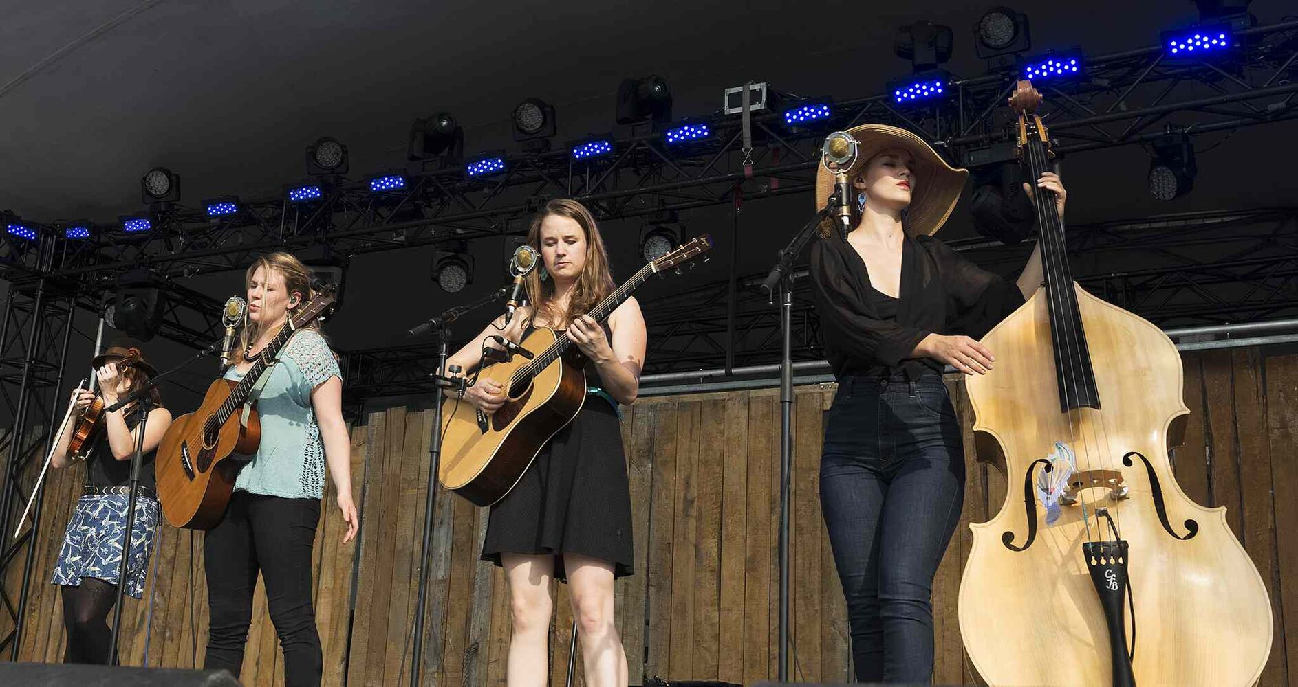 Della Mae performs Thursday night at Folk Fest. (Sarah Taylor / Winnipeg Free Press)